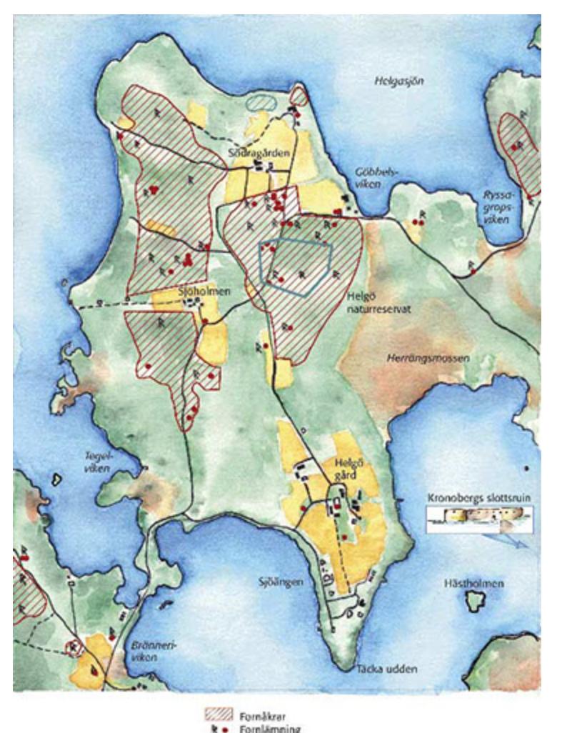 Handmålad karta till Riksantikvarieämbetet