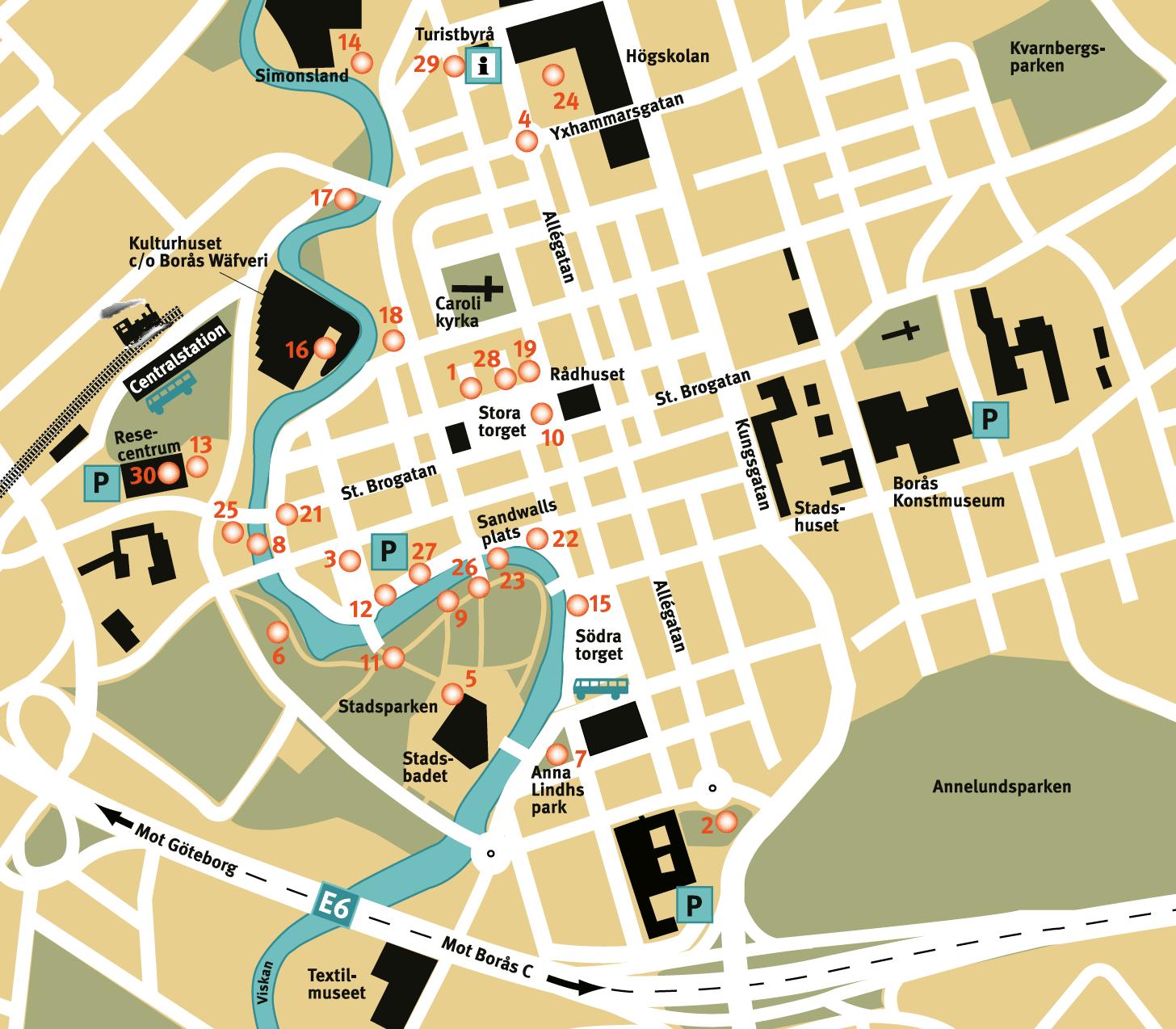 Karta över skulturfestivalen i Borås