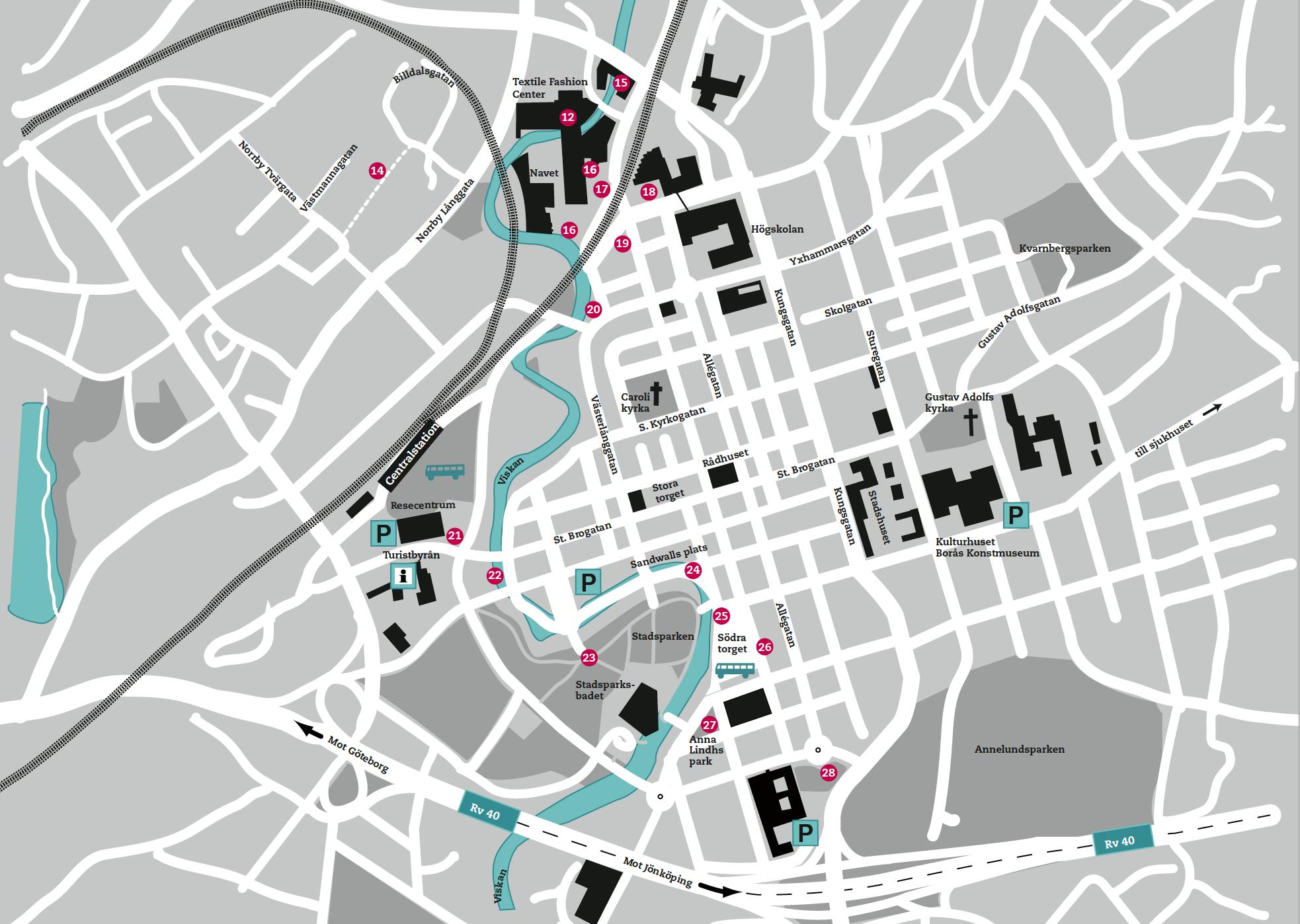 Senare karta över Borås och skulpturfestivalen