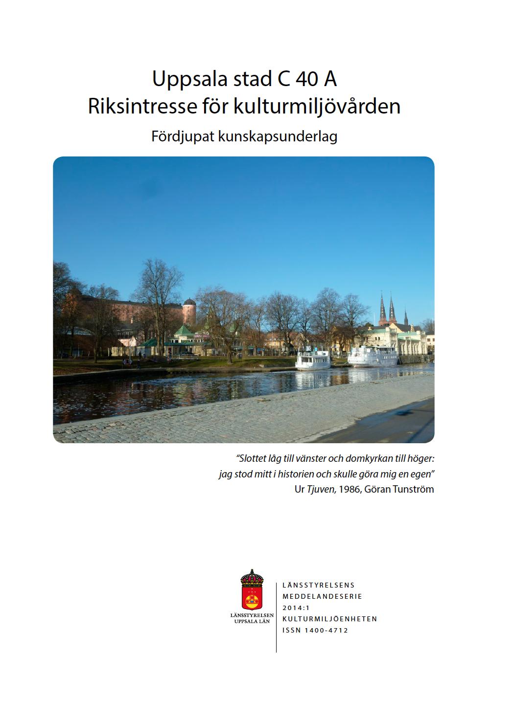 Uppsala stad A Riksintresse, omslag