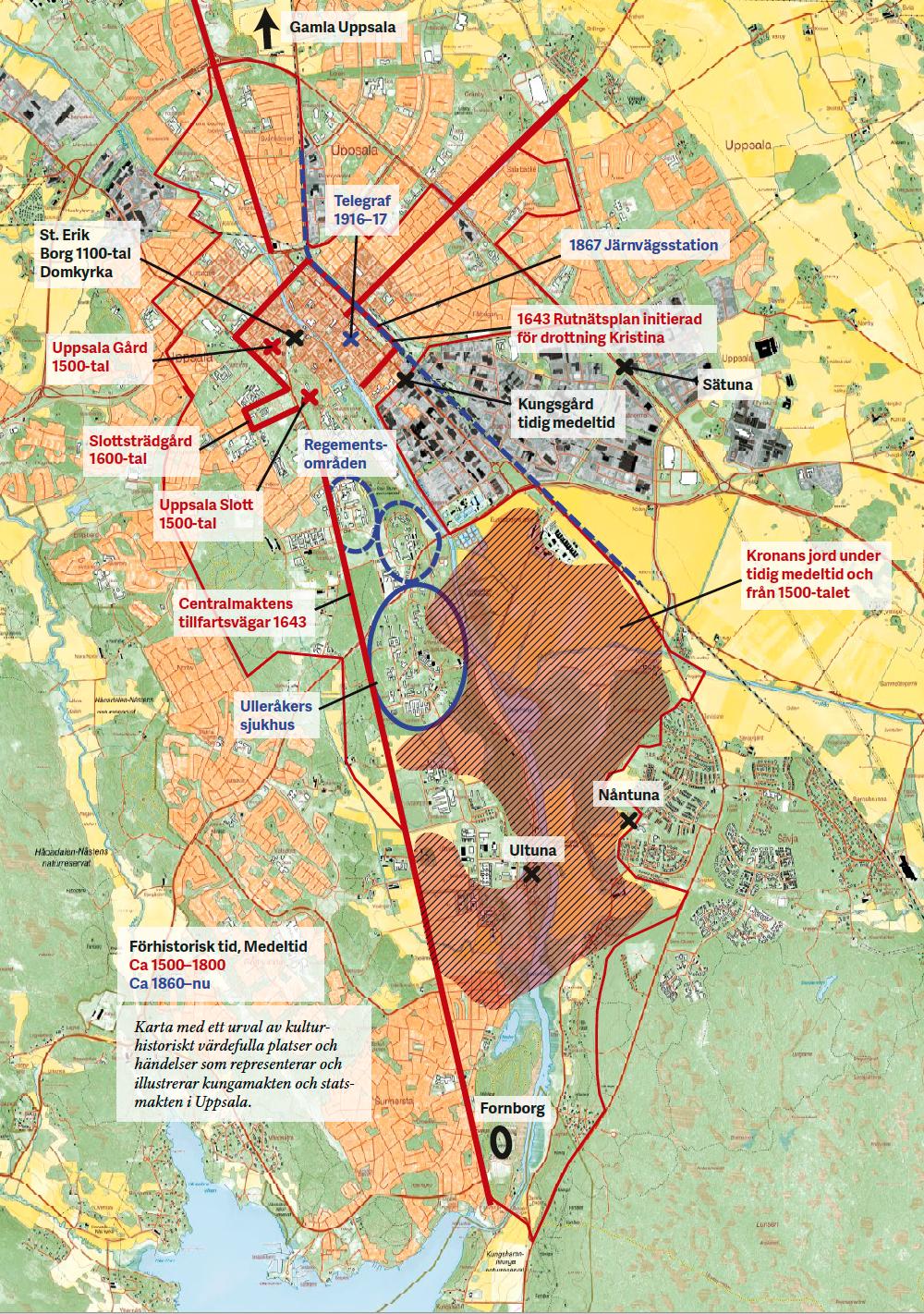 Uppsala stad Riksintresse, karta